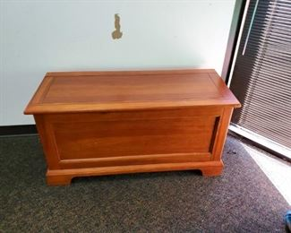 Chest with hinged lid.