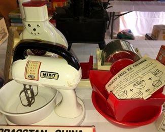 Vintage child's snow cone machine, ice creamer and play mixer