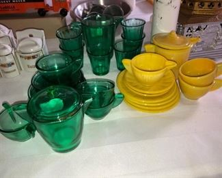 Vintage depression glass toy dishes