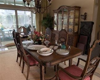 Mid Century Dining Room Table, Matching China Hutch