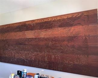 HUGE! Hand carved settlement of St. Augustine,  by  Bruce Turnbull.  5ft high x 12 feet wide.  Wonderful - One of a Kind Mid -Century Piece.  $1600 or best offer.