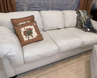 Large White Leather Couch with Sleeper