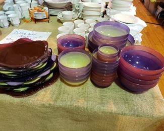 Beautifully colored glass dishes