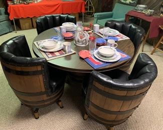 Vintage Whiskey Barrel Furniture w/Lighthouse Thompson Pottery 14 Piece Dinnerware Set!