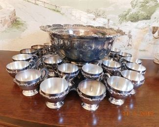 Silver plate punch bowl and 20 cups.