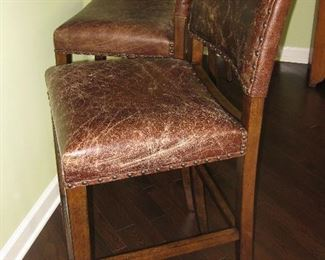 3 Pottery Barn leather stools