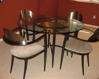 glass top table with chairs