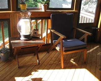 Potterry Barn lamp sunporch table chair