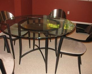 Italian modern  stainless and iron table and chairs set