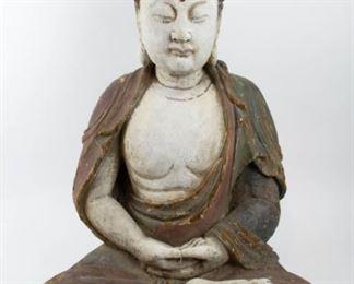 A Large Polychrome Carved Figure of Buddha
