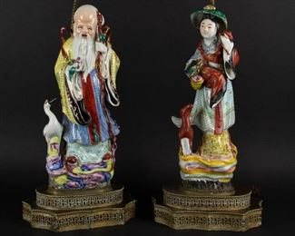 A Pair of Porcelain Immortals Mounted as Lamps