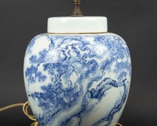 A Blue and White Pines Ginger Jar as a Lamp