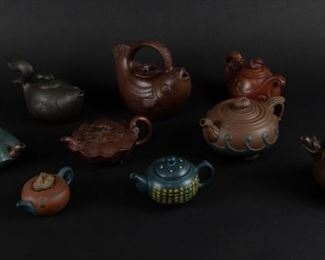 A Group of Yixing Teapots