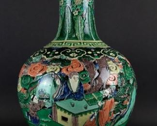 A Massive Double Walled Famille Verte Vase as a