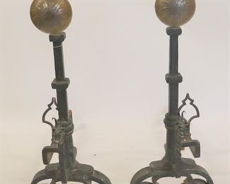 A Very Large Pair Of Hand Wrought Iron Andirons