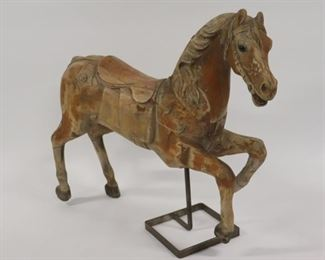 Antique Carved And Patinated Wood Carousel Horse