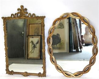 ANTIQUE Carved Plume Twisted Gilt Mirrors