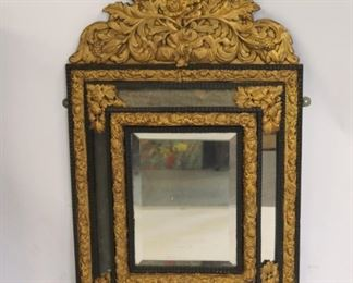 Antique Ebonised Mirror With Gilt Tin Crown