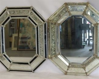 Antique Etched Glass Venetian Mirrors