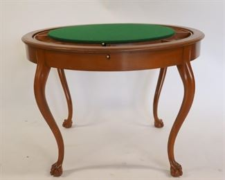 Antique Flip Top Game Table Raised On Ball