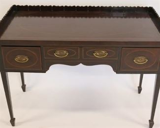 Antique Mahogany Inlaid Server With Gallery