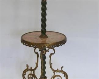 Antique Marble Side Table with Lamp