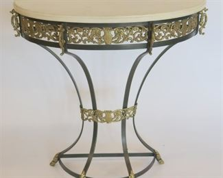 Art Deco Iron And Marbletop Demilune Console