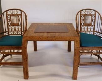 Attributed To Karl Springer Bamboo Game Table