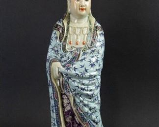 Famille Rose Enameled Porcelain Figure of Guanyin
