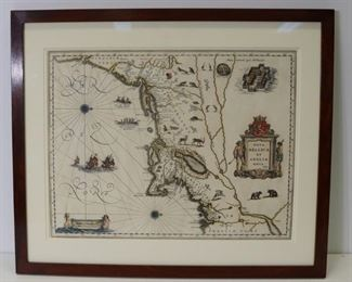 Framed Wm Blaeu Nova Belgica Et Anglia Map