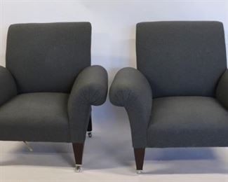 George Smith Signed Pair Of Upholstered Club