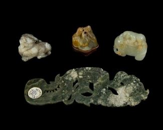 Group of Four Jade and Hardstone Carvings