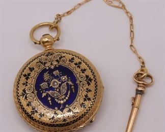 JEWELRY Antique kt Gold Enamel and Diamond