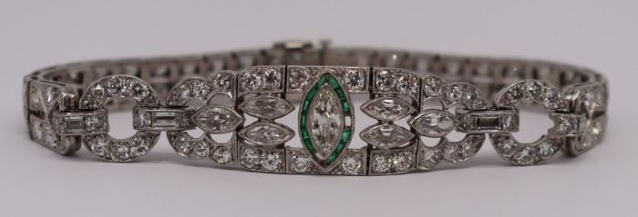 JEWELRY Art Deco Platinum Diamond Emerald Suite