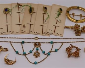 JEWELRY Assorted Gold Art Nouveau Jewelry