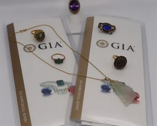 JEWELRY Assorted Gold Jewelry Grouping with GIA