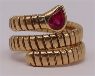 JEWELRY Bvlgari Style kt Gold Ruby Coil Ring