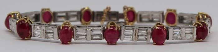 JEWELRY GIA Ruby Platinum and Diamond Bracelet