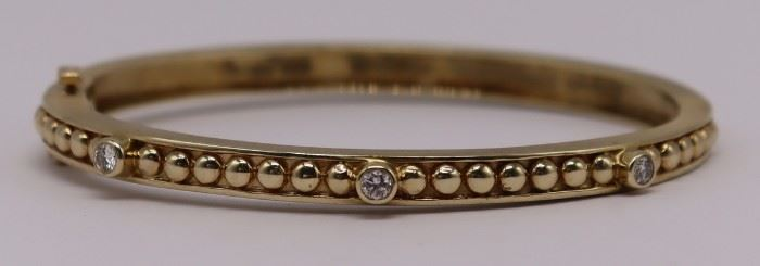 JEWELRY kt Gold and Diamond Hinged Bracelet