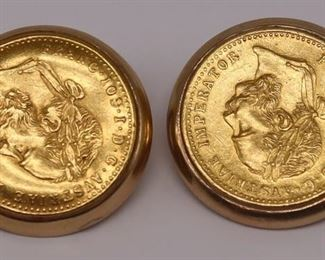 JEWELRY Pair of kt Gold Mounted Austrian Ducat