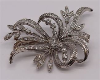 JEWELRY Platinum and Diamond Floral Spray Brooch