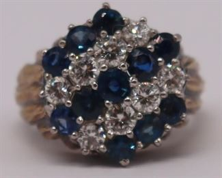 JEWELRY Signed ct Gold Diamond and Sapphire