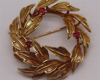 JEWELRY Tiffany Co kt Gold and Ruby Brooch