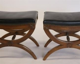 KINDEL Signed Pair Of Neoclassical Style Benches
