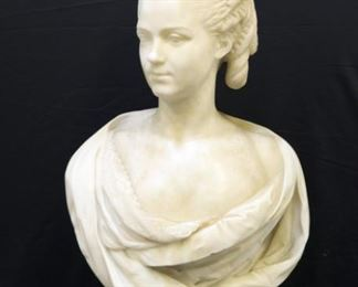 Large And Finely Carved Marble Bust Of Marie
