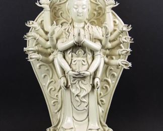 Large Blanc de Chine Figure of ManyArmed Guanyin
