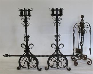 Mansion Size Pair Of Hand Wrought Antique