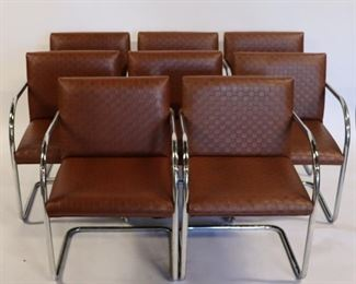 MIDCENTURY Chrome And Upholstered Arm Chairs