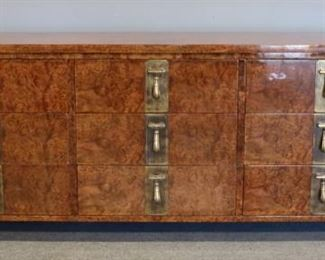 MIDCENTURY MASTERCRAFT Walnut Multi Drawer Brass