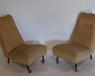MIDCENTURY Pair Of Upholstered Slipper Chairs